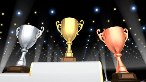 Podium Prize Trophy Cup Ea4 HD Stock Video Footage