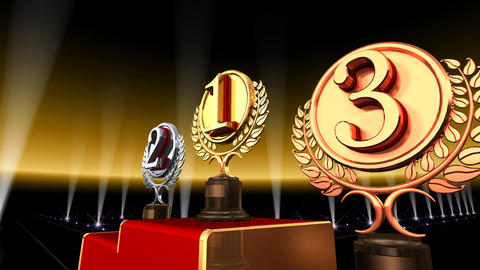 Podium Prize Trophy Ec3 HD Stock Video Footage