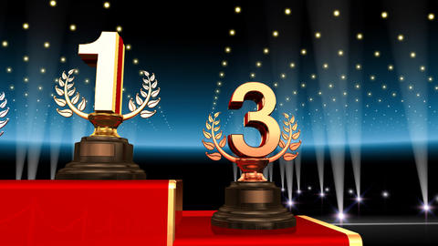 Podium Prize Trophy Fa3 HD stock footage