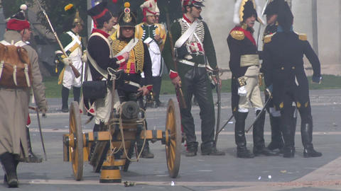fighting french artillery 03 Stock Video Footage