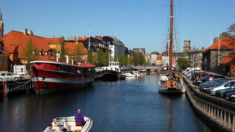 Area around Slotsholmen in Copenhagen Stock Video Footage
