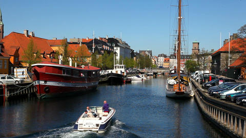 Area around Slotsholmen in Copenhagen Stock Video Footage
