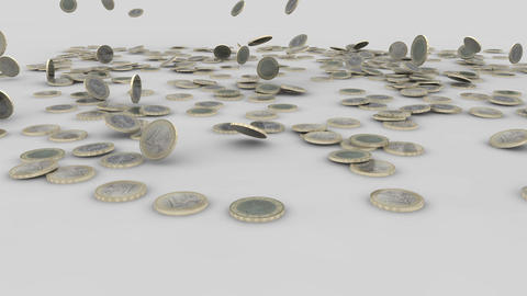 euro coins rain 03 Stock Video Footage