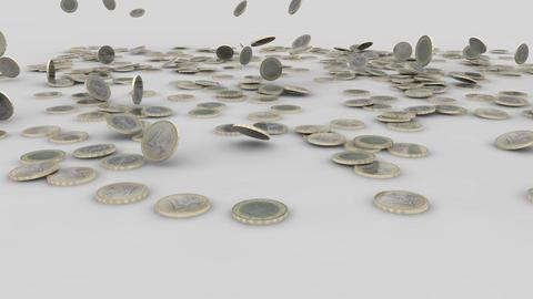 euro coins rain 03 Stock Video Footage