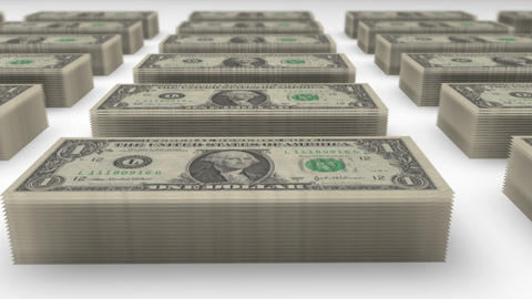 Dollar bills piles 01 Animation
