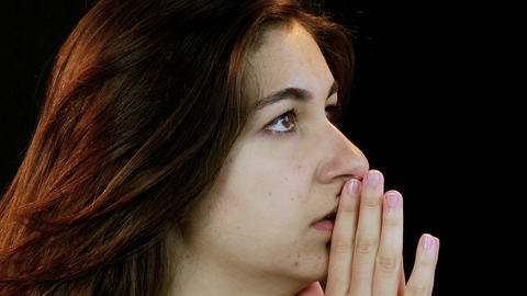 Desperate Young woman praying Stock Video Footage
