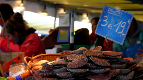 Mussels on the market Stock Video Footage