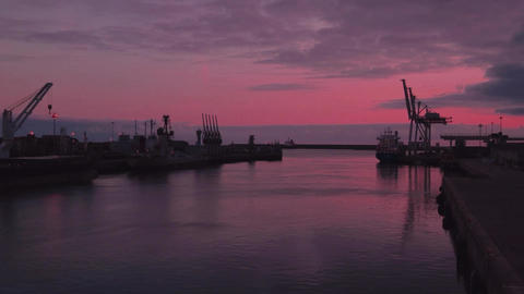 Sunset at Leixoes harbor Stock Video Footage