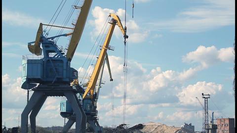 Port crane timelapse 2 Stock Video Footage