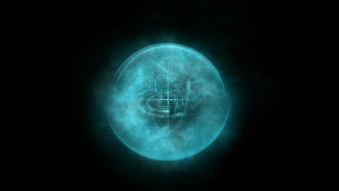blue nebula and whirl rays laser light,rotation arrow,energy tech cable in space Animation