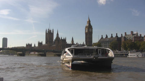 Westminster and Themse Clipper Stock Video Footage