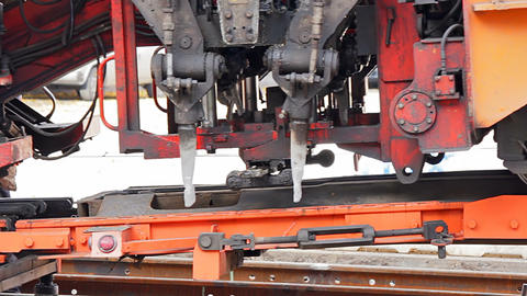 Loading the ballast tamper Stock Video Footage