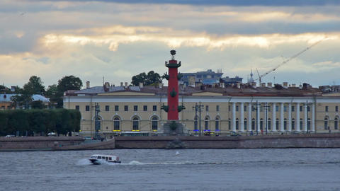 Embankment Vasilyevsky Island Stock Video Footage