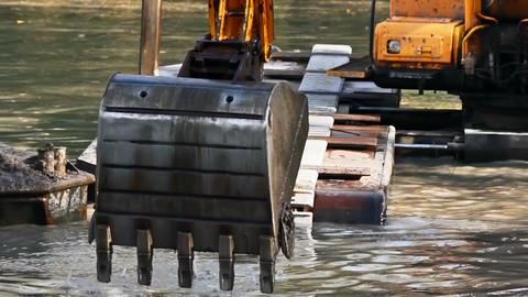 Bucket dredging machines Stock Video Footage