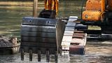 Bucket Dredging Machines stock footage
