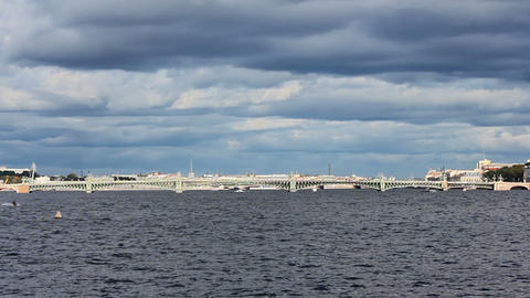 Trinity Bridge across the Neva River Stock Video Footage