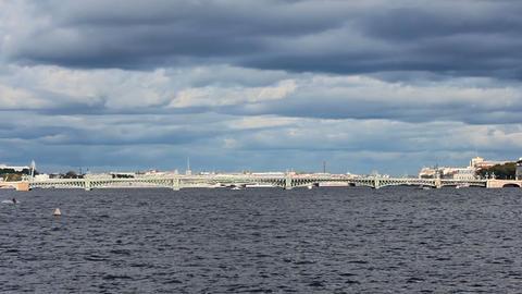 Trinity Bridge across the Neva River Stock Video Footage