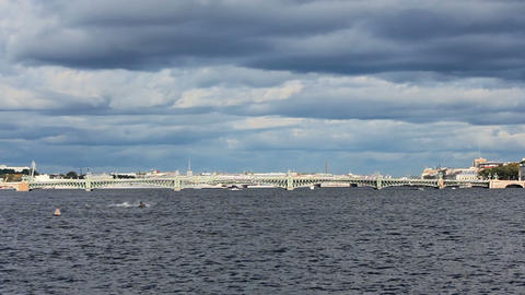 Trinity Bridge across the Neva River Footage