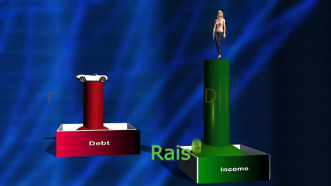 Animated Graph: Lower Debt, Rising Income (woman) Stock Video Footage