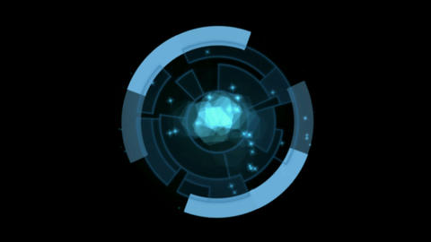 blue rotation circles computer interface Stock Video Footage