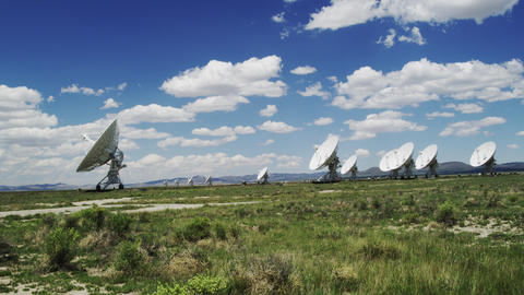 Radio Telescopes searching for Signals from Space in Time Lapse Footage