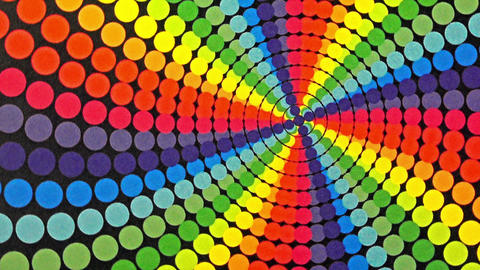 Retro Rainbow Colored Dots Rotating Animation Background Footage