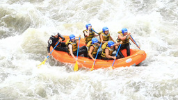 whitewater river rafting boat with people model release extreme sport Footage