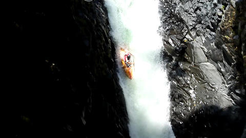 Waterfall Kayak Jump Slow Motion Footage