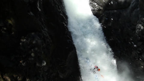 Waterfall Kayak Jump Slow Motion Footage