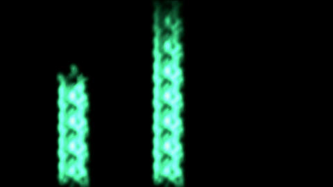 Three green laser beams beat,rays light chain Stock Video Footage