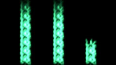 Three green laser beams beat,rays light chain Animation