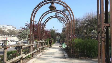 Garden at San Martin in Paris Stock Video Footage