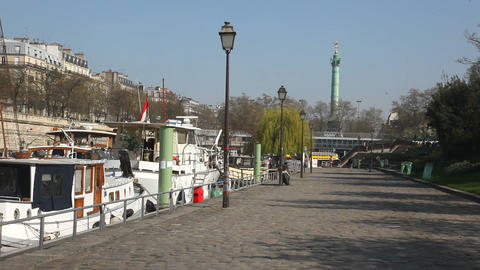 View to The Bastille from the canal San Martin Stock Video Footage