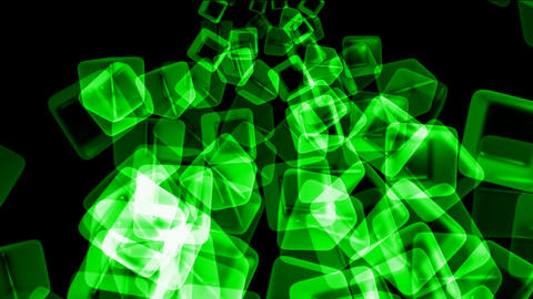green transparent ice block,flying glass boxes and rays light,tech web cubes matrix Animation