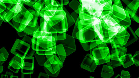 green transparent ice block,flying glass boxes and rays... Stock Video Footage