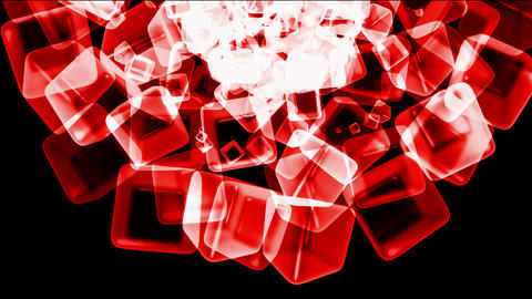 red ice block,crystal jewelry necklace,flying glass boxes and rays light,tech web cubes matrix Animation