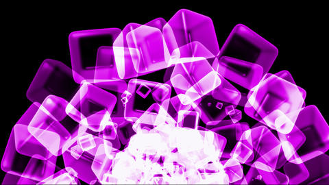purple ice block,crystal jewelry necklace,flying glass boxes and rays light,tech web cubes matrix Animation