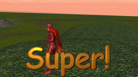 "Super Hero on Mountain Zoom in (with ""Super"" title) Animation"