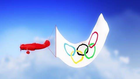 Olympic Plane in Clouds (Loop) Stock Video Footage