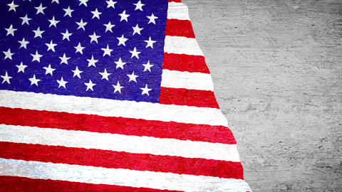 Painting flag on the wall - USA Stock Video Footage