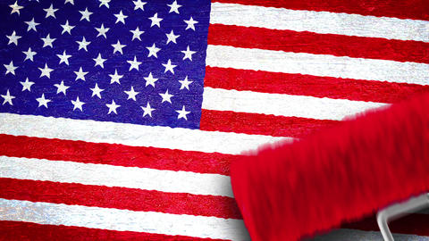 Painting flag on the wall - USA Animation
