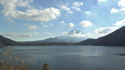 Autumn Landscape in Motosu Lake and Mt.Fuji,in... Stock Video Footage