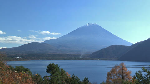 Autumn Landscape in Mt.Fuji and Motosu Lake,Yamanashi,Japan Stock Video Footage