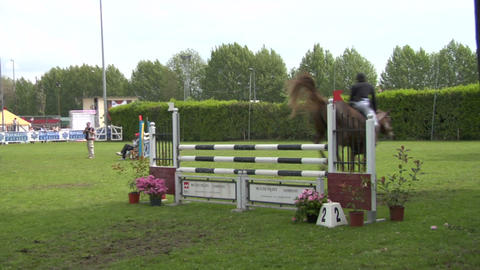 horse race jump 23 Stock Video Footage