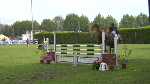 horse race jump 23 Stock Video Footage