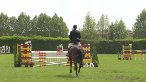 horse race jump 51 Stock Video Footage