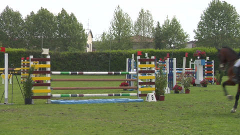 horse race jump 92 Stock Video Footage