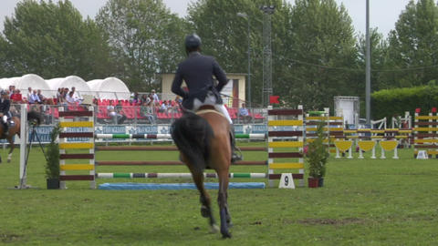 horse race jump 96 Stock Video Footage