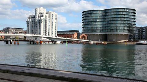 Copenhagen Waterfront Silos Stock Video Footage
