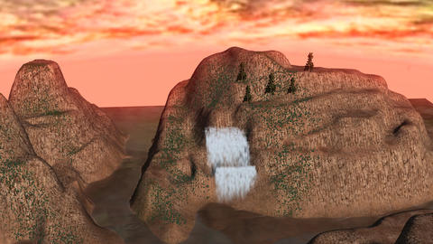 Waterfall among Mountain Peaks during Sunset Animation